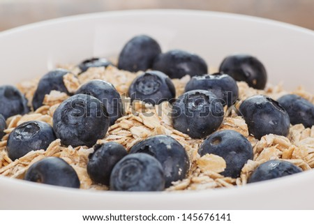 Blueberries Oatmeal - stock photo