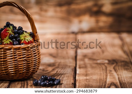 blueberries on a wooden background - stock photo