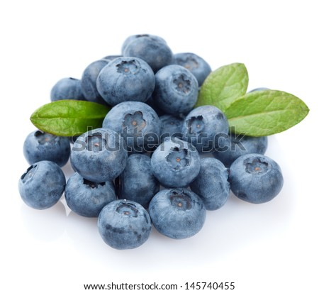 Blueberries on white background  - stock photo