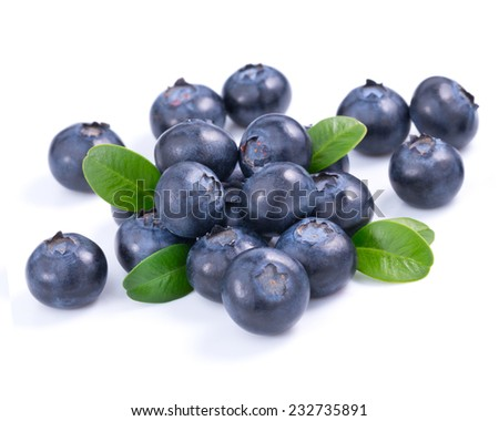 Blueberries with leaves on white background  - stock photo