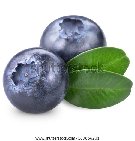 Blueberries with leaves on white background. Clipping Path  - stock photo