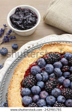 Blueberry and blackberry tart - stock photo