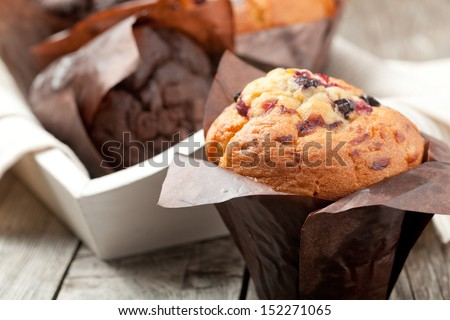 blueberry and chocolate muffins in paper cupcake holder - stock photo