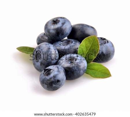 blueberry and green leaves are on white background - stock photo