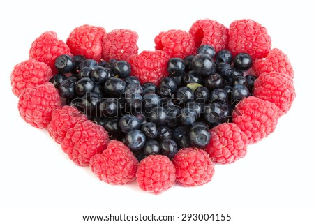 blueberry and raspberry heart on a white background