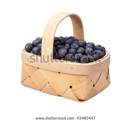 Blueberry Basket isolated on white with a clipping path - stock photo