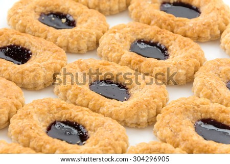 blueberry biscuit pies on white background