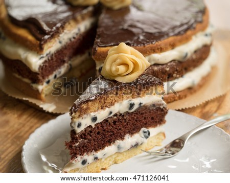 Blueberry cake with chocolate cream