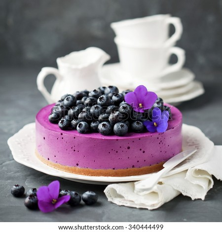 Blueberry cheesecake with fresh blueberries, selective focus - stock photo