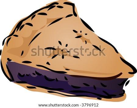 Blueberry desert Pie, hand drawn retro illustration - stock photo