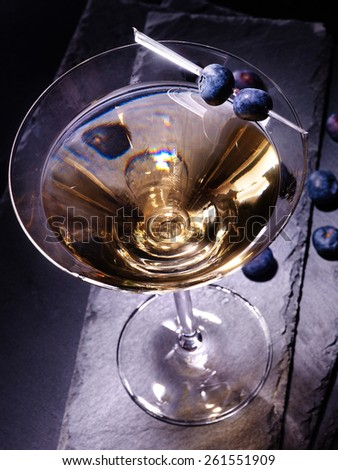 Blueberry drink on black background. Top view. - stock photo