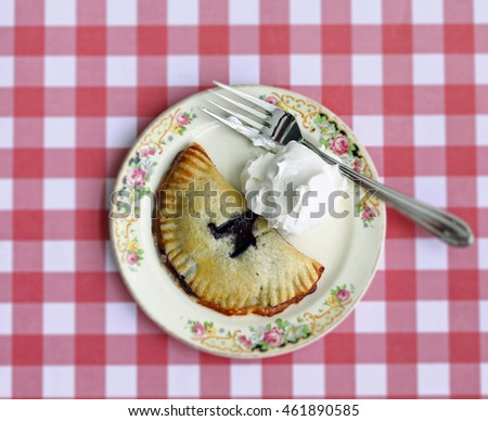 Blueberry hand pie, whipped cream, and fork on a Depression era round plate. The background is picnic cloth red plaid.