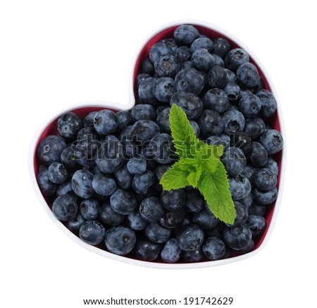 blueberry in heart sharp isolated on white