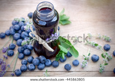 Blueberry juice - healthy, refreshing beverage in jar - stock photo