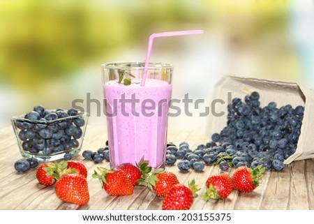 blueberry milkshake - stock photo