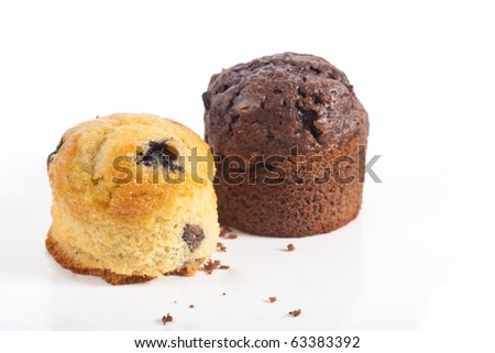 Blueberry muffin and chocolate muffin on white