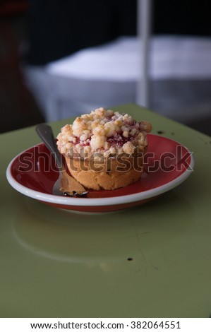 Blueberry muffins on table. - stock photo