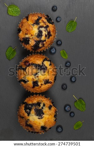 Blueberry Muffins. Selective focus. - stock photo