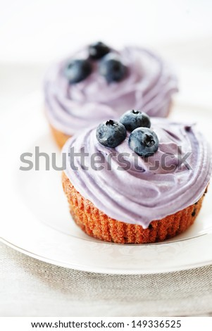 Blueberry muffins still life selective focus - stock photo