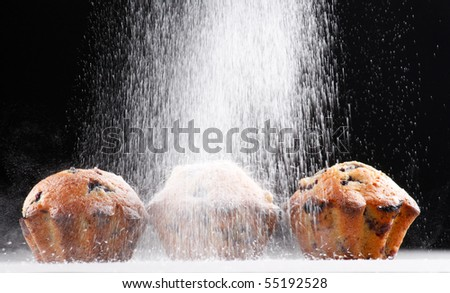 Blueberry muffins with caster sugar - stock photo