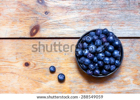 Blueberry  on vintage wooden table