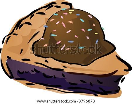 Blueberry pie with icecream and sprinkles Pie, hand drawn retro illustration - stock photo