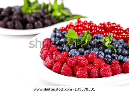 Blueberry, rasberry, cranberry and mulberry on white plates - stock photo