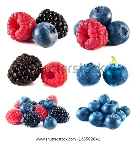 Blueberry, raspberry and blackberry collection isolated on white background (set). - stock photo