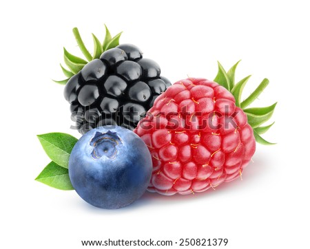 Blueberry, raspberry and blackberry over white background, with clipping path - stock photo