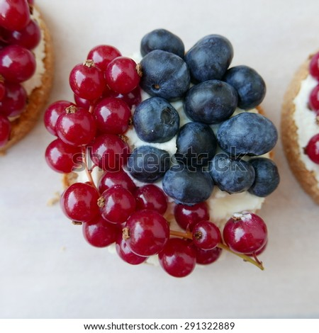 Blueberry-red currant tartelette with italian mascarpone cheese - stock photo