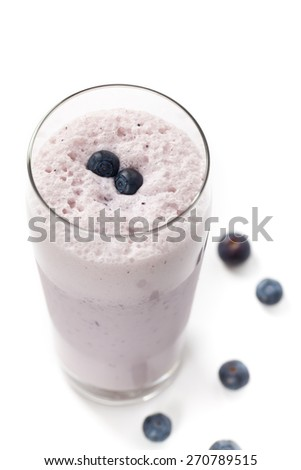 Blueberry Smoothie on white background. Selective focus.