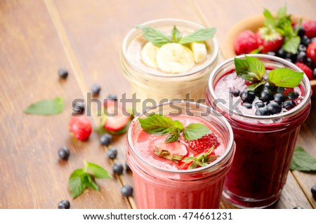 Blueberry strawberry and banana mix smoothie on the table