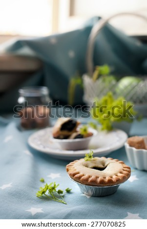 Blueberry tart set with apples and sugar by a window. Natural light photo. Closeup shot, shallow focus. - stock photo