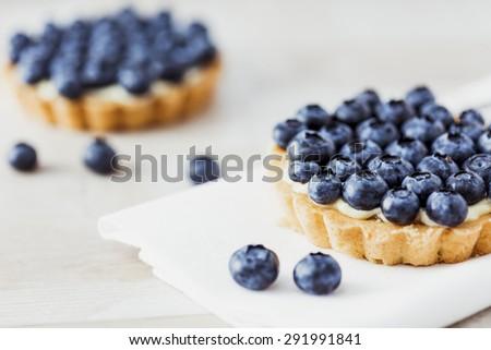 Blueberry tart. Shallow dof.  - stock photo