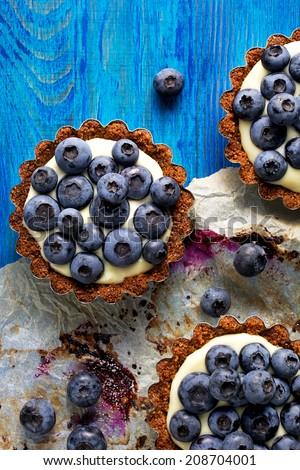 Blueberry tarts - stock photo