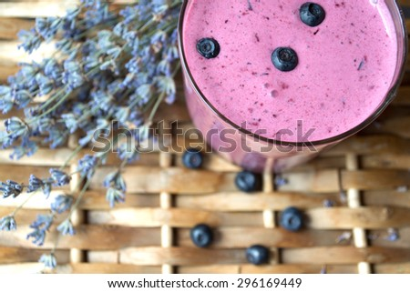Blueberry with lavender and milkshake - stock photo