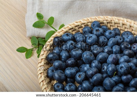 Blueberry with leaves in the bowl