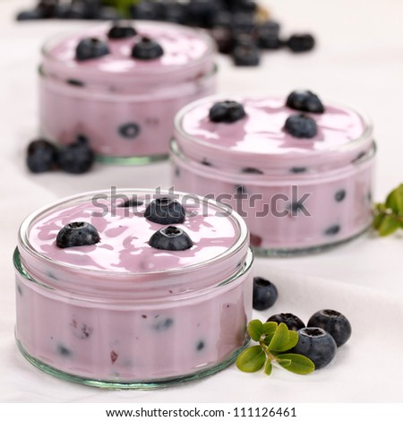 Blueberry yogurt in glass bowls served with fresh blueberries