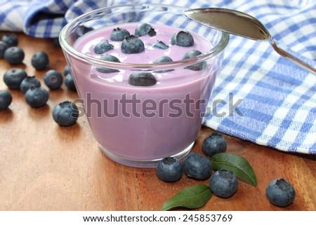 blueberry yogurt with fresh fruits - stock photo