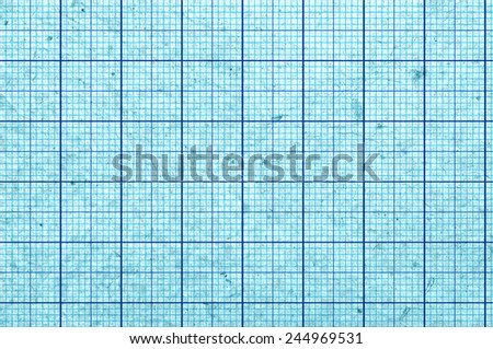 Blueish blank and grungy graph paper - stock photo