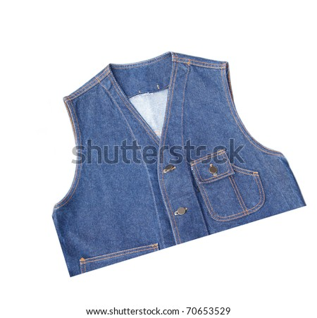 Bluejeans vest cut at a half on white isolated background. - stock photo