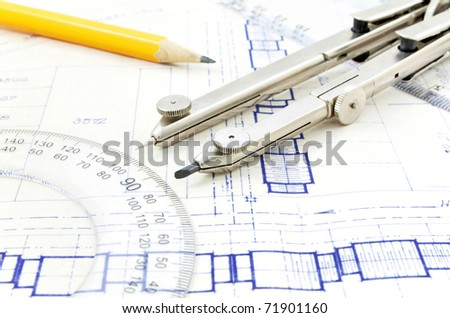 Blueprint and geometry equipment - stock photo
