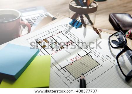 Blueprint architecture interior design structure development stock blueprint architecture interior design structure development concept malvernweather Images
