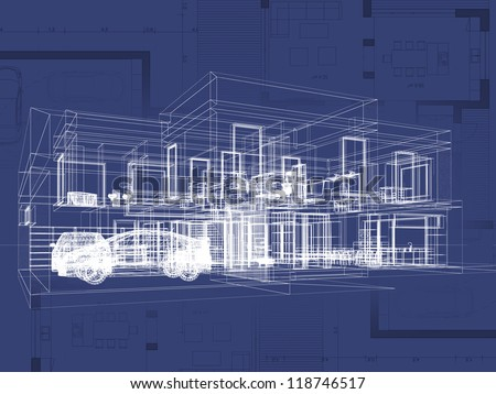 Blueprint architecture plan perspective drawing contemporary stock blueprint architecture plan and perspective drawing of contemporary house malvernweather Gallery