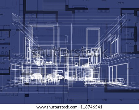 Blueprint Architecture Plan Perspective Drawing Contemporary Stock