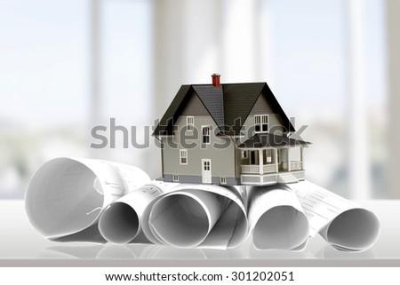 Blueprint, Built Structure, Construction. - stock photo