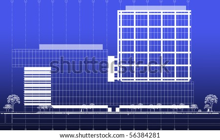 Blueprint business building facade concept stock illustration blueprint business building facade concept malvernweather Image collections