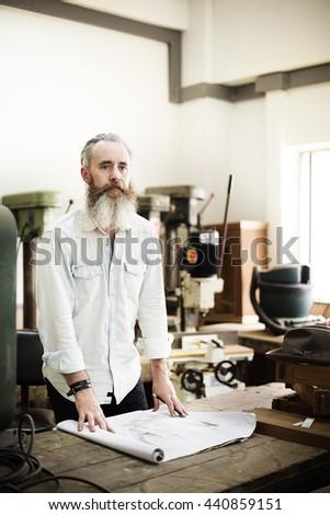 Blueprint Carpenter Handicraft Woodwork Draft Concept - stock photo