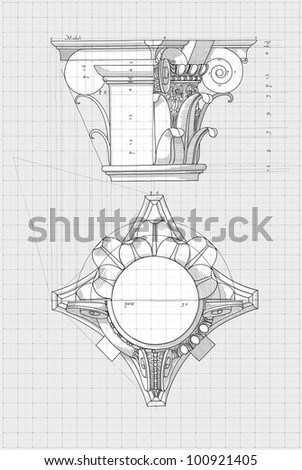 """Blueprint - chapiter- hand draw sketch composite architectural order based """"The Five Orders of Architecture"""" is a book on architecture by Giacomo Barozzi da Vignola from 1593. Bitmap copy my vector - stock photo"""