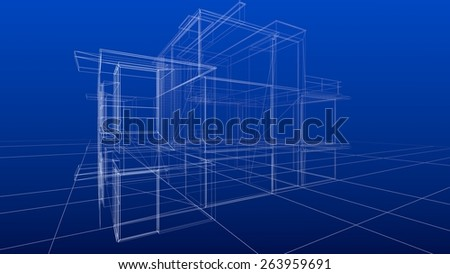 Blueprint. 3D. Abstract wire-frame construction house architecture - stock photo